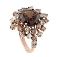Кольцо Damiani Anima, розовое золото, бриллианты, кварц (20046910)