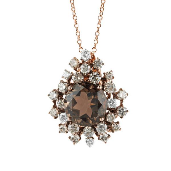 Ожерелье Damiani Anima, розовое золото, коричневые бриллианты, кварц (20042636)