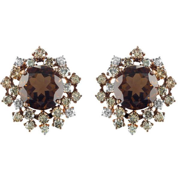 Серьги Damiani Anima, розовое золото, коричневые бриллианты, кварц (20042635)