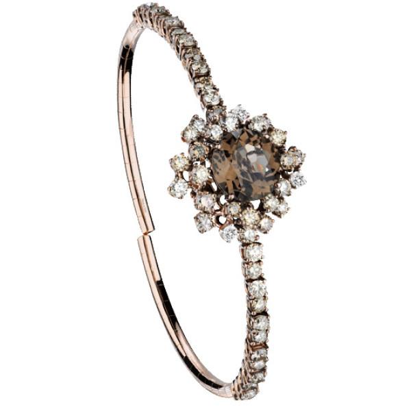 Браслет Damiani Anima, розовое золото, коричневые бриллианты, кварц (20047057)