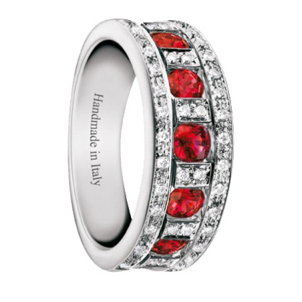 Кольцо Damiani Belle Epoque белое золото, бриллианты, рубины (20039700)
