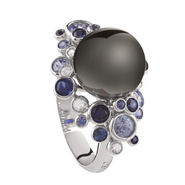 Кольцо Damiani Bubbles белое золото, жемчуг, бриллианты, сапфиры, топазы (20055192)