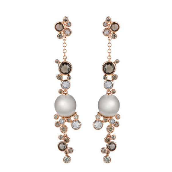 Серьги Damiani Bubbles розовое золото, жемчуг, бриллианты, кварц (20055232)