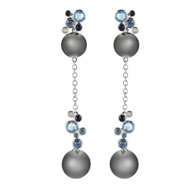 Серьги Damiani Bubbles белое золото, жемчуг, бриллианты, сапфиры, топазы(20055234)
