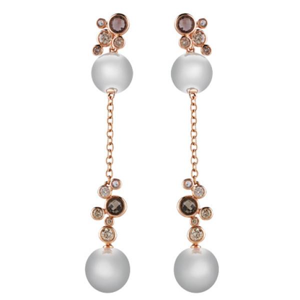 Серьги Damiani Bubbles розовое золото, жемчуг, бриллианты, кварц (20055197)