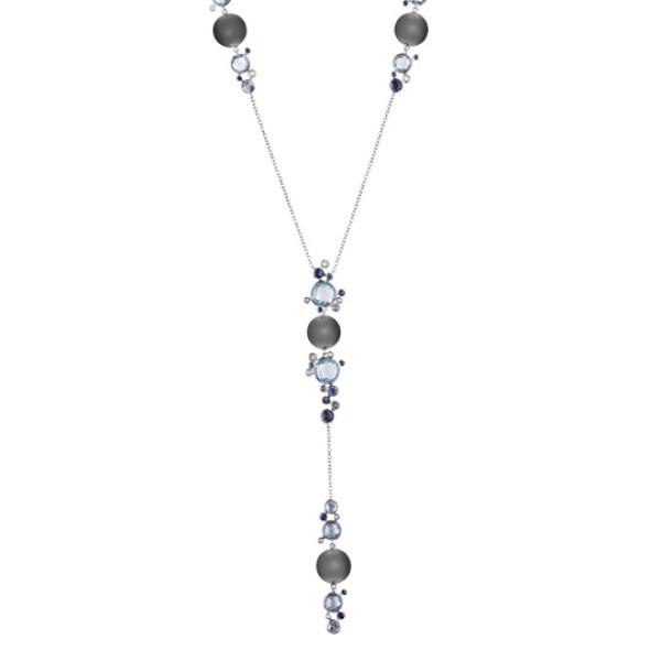 Ожерелье Damiani Bubbles белое золото, жемчуг, бриллианты, сапфиры, топазы (20055195)