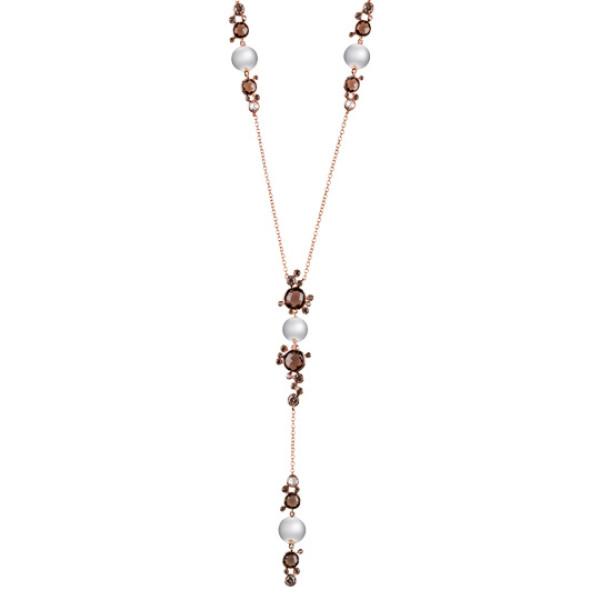 Ожерелье Damiani Bubbles розовое золото, жемчуг, бриллианты, кварц (20055233)
