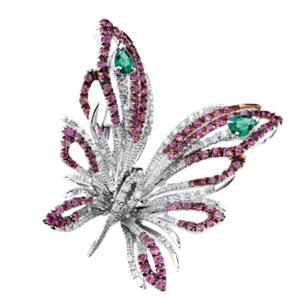 Бабочка Damiani Butterfly белое золото, бриллианты, сапфиры, изумруды (20053582)