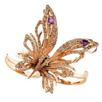Бабочка Damiani Butterfly розовое золото, бриллианты, аметисты (20056132)