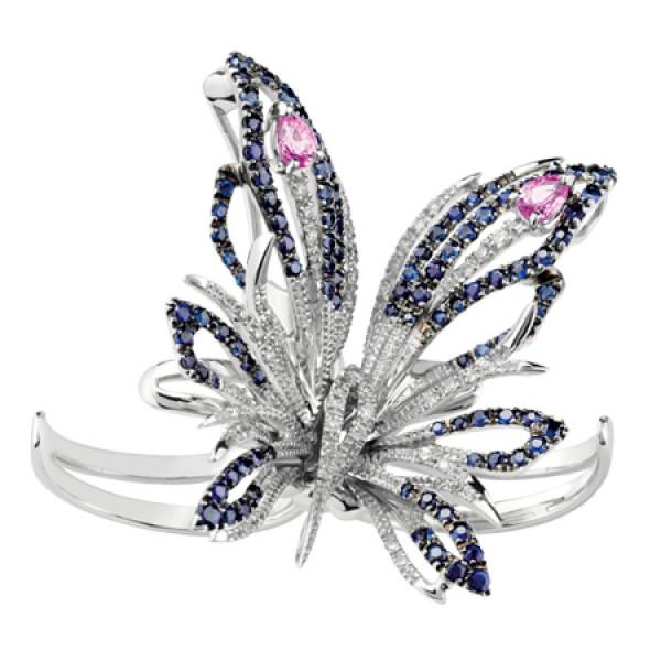 Бабочка Damiani Butterfly белое золото, бриллианты, сапфиры (20056134)
