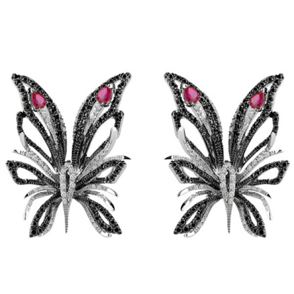 Серьги Damiani Butterfly белое золото, бриллианты, рубины (20056127)