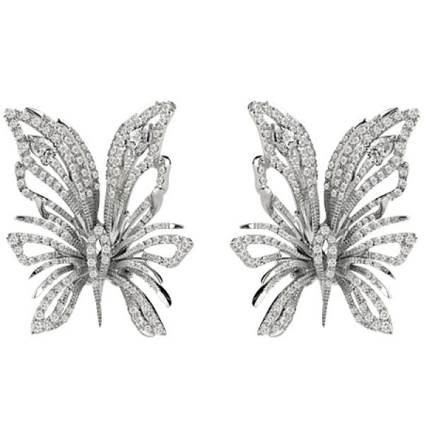 Серьги Damiani Butterfly белое золото, бриллианты (20056123)