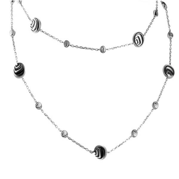 Цепочка Damiani Damianissima.925 серебро, бриллианты, оникс (20045655)