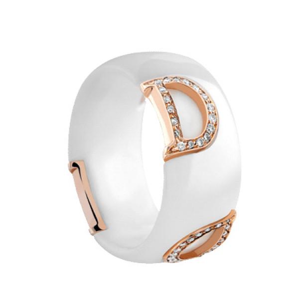 Кольцо Damiani D.Icon, керамика, розовое золото, бриллианты (20045892)