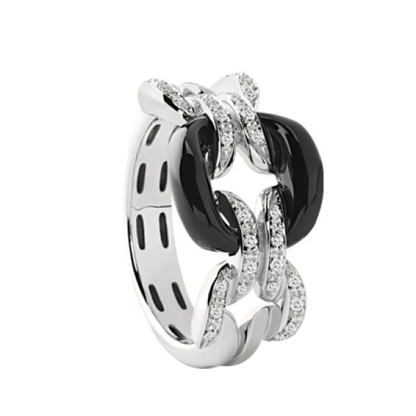 Кольцо Damiani D.Lace, белое золото, бриллианты, оникс (20054853)