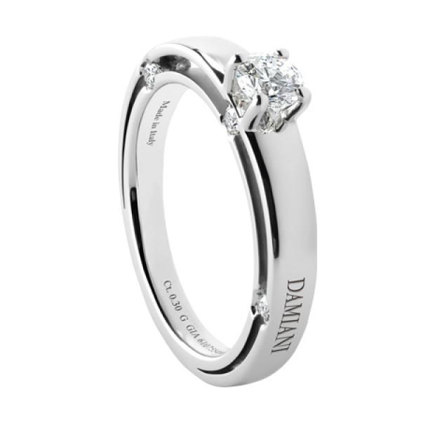 Кольцо Damiani D.Side, белое золото, бриллиант