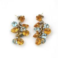 Серьги Casato желтые камни, желтое золото 750