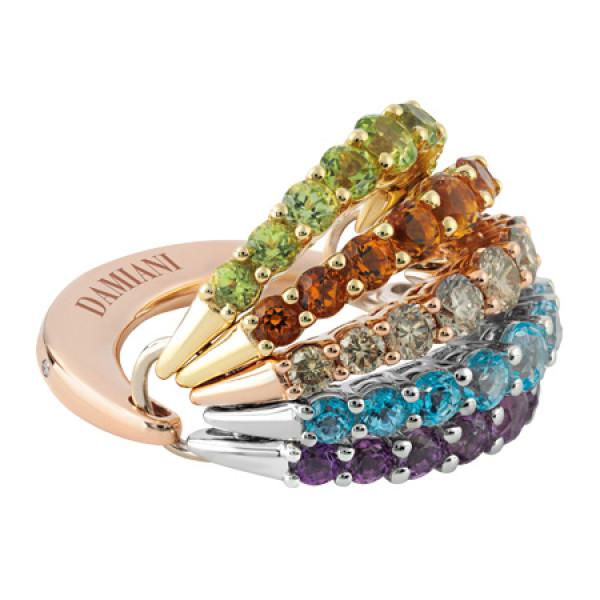 Кольцо Damiani Gaia Fancy, белое, розовое и желтое золото, бриллианты, полудрагоценные камни (20046566)