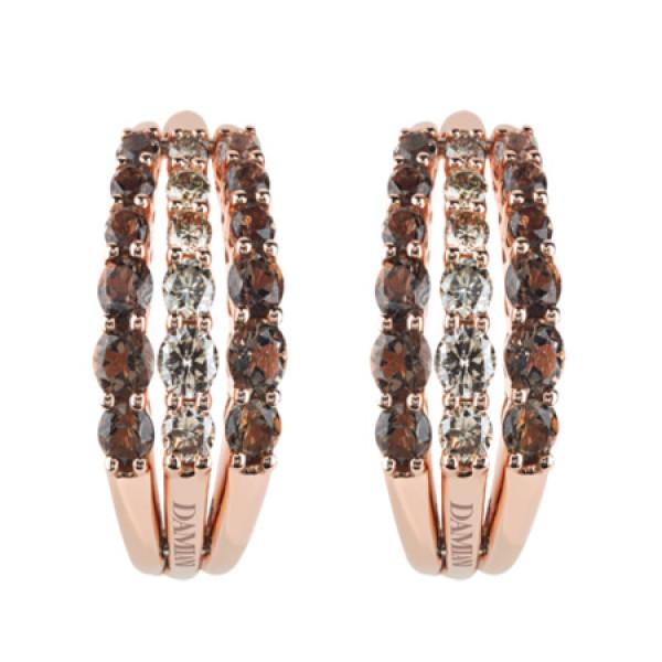 Серьги Damiani Gaia Fancy, розовое золото, бриллианты, кварц (20046592)