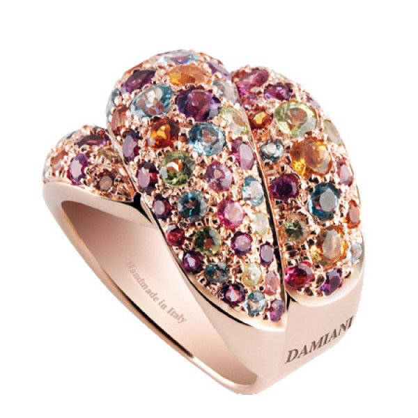 Кольцо Damiani Gomitolo, розовое золото, драгоценные камни (20032206)