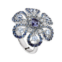 Кольцо Damiani Ibisco, белое золото, бриллианты, сапфиры, дихроит (20055183)