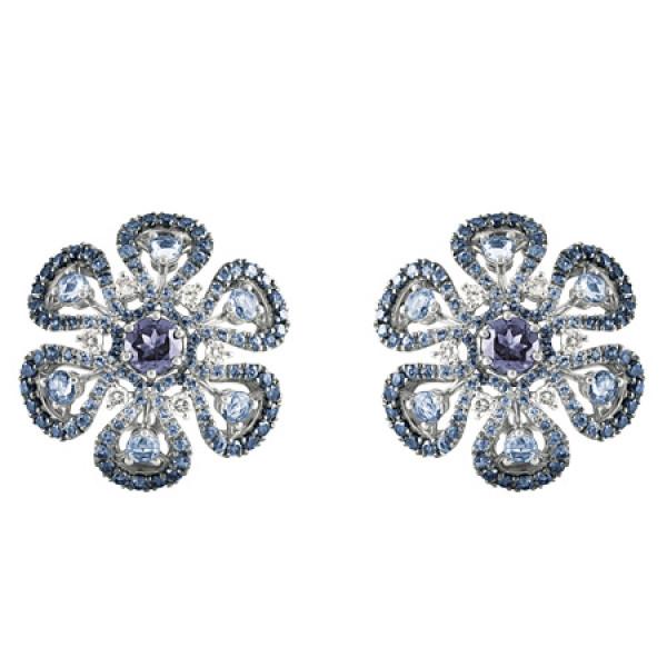 Серьги Damiani Ibisco, белое золото, бриллианты, сапфиры, дихроит (20056206)