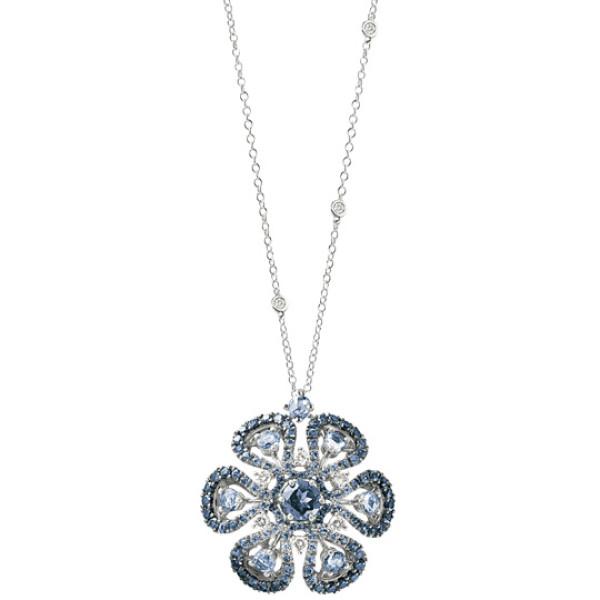 Подвеска Damiani Ibisco, белое золото, бриллианты, сапфиры, дихроит (20056722)