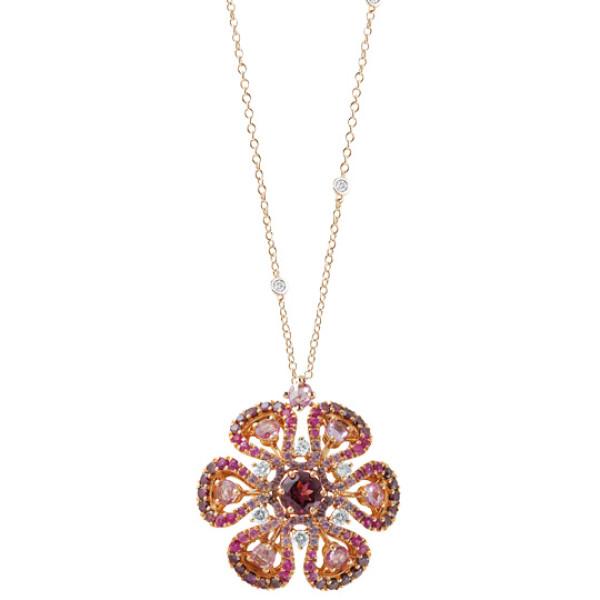 Подвеска Damiani Ibisco, розовое золото, бриллианты, сапфиры, родолит, аметист (20056723)