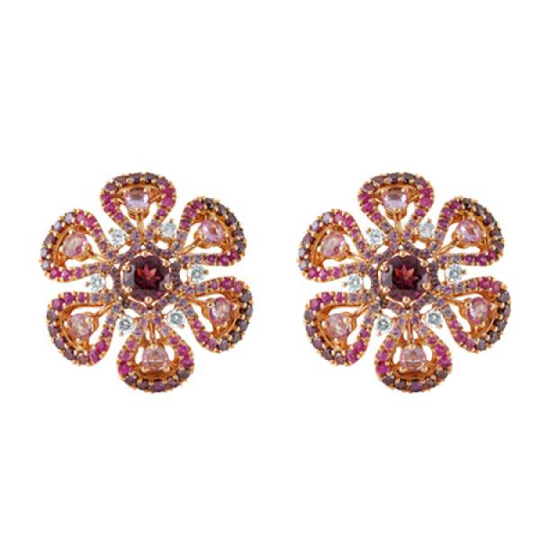 Серьги Damiani Ibisco, розовое золото, бриллианты, сапфиры, родолит, аметист (20056552)