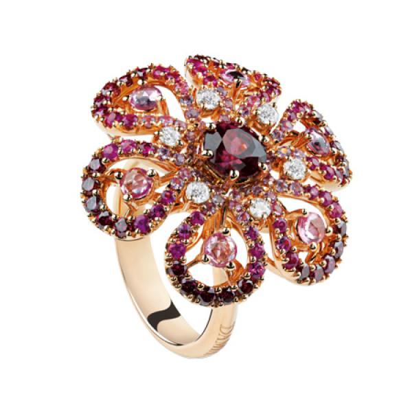 Кольцо Damiani Ibisco, розовое золото, бриллианты, сапфиры, родолит, аметист (20056553)