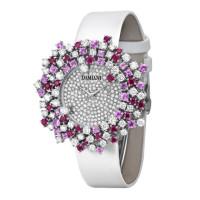 Часы Damiani Mimosa белое золото, бриллианты, рубины, сапфиры (30017676)