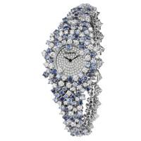 Часы Damiani Mimosa белое золото, бриллианты, сапфиры (30018684)