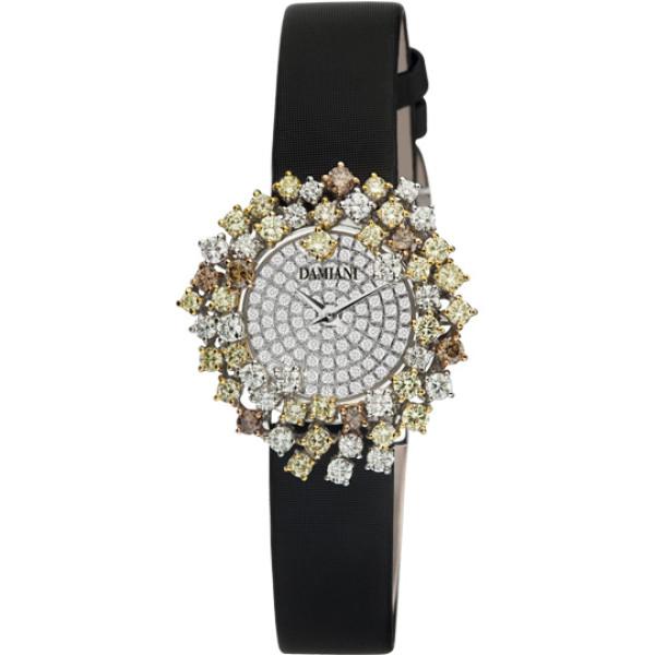 Часы Damiani Mimosa белое золото, цветные бриллианты (30002870)