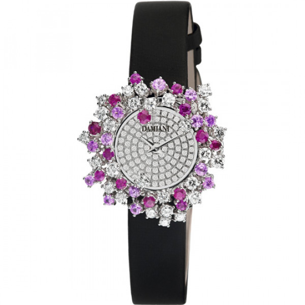 Часы Damiani Mimosa белое золото, бриллианты, сапфиры, рубины (30012004)