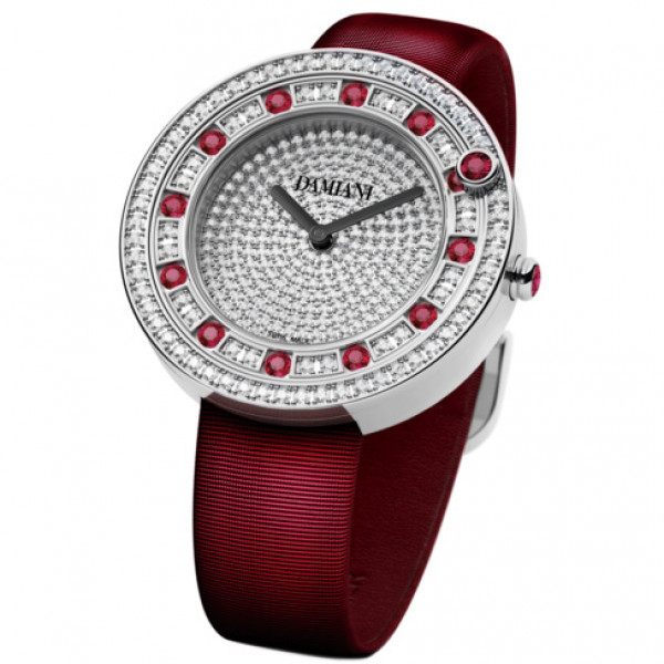 Часы Damiani Belle Epoque белое золото, бриллианты, рубины (30002913)