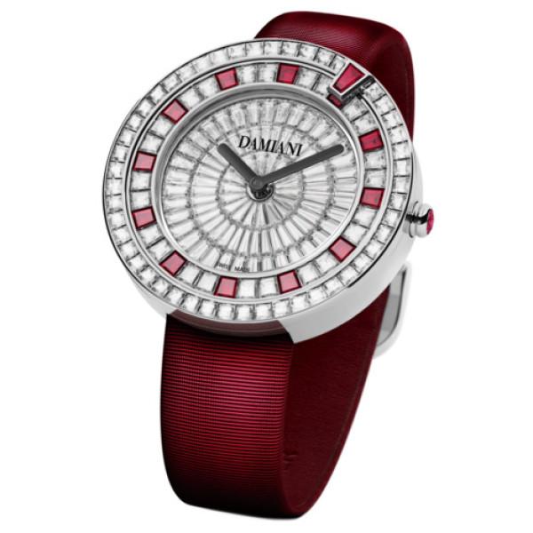 Часы Damiani Belle Epoque белое золото, бриллианты, рубины (30002915)