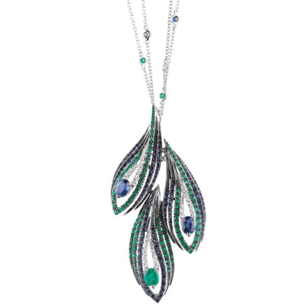 Колье Damiani Mini Peacock белое золото, бриллианты, изумруды, сапфиры (20042470)