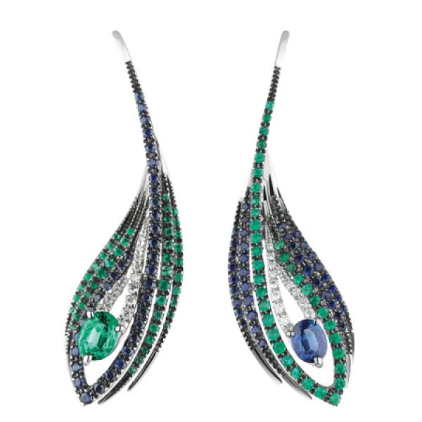 Серьги Damiani Mini Peacock белое золото, бриллианты, изумруды, сапфиры (20042466)