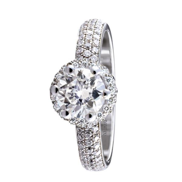 Кольцо Damiani Minou белое золото, крупный бриллиант, бриллиантовая россыпь паве