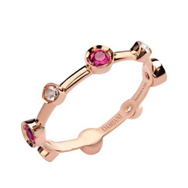 Кольцо Damiani Moon Drops розовое золото, бриллианты, рубины (20040731)
