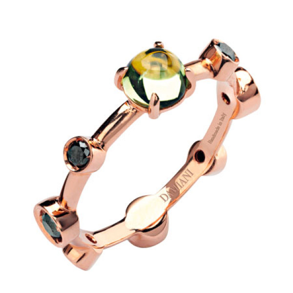 Кольцо Damiani Moon Drops розовое золото, бриллианты, перидот (20040723)