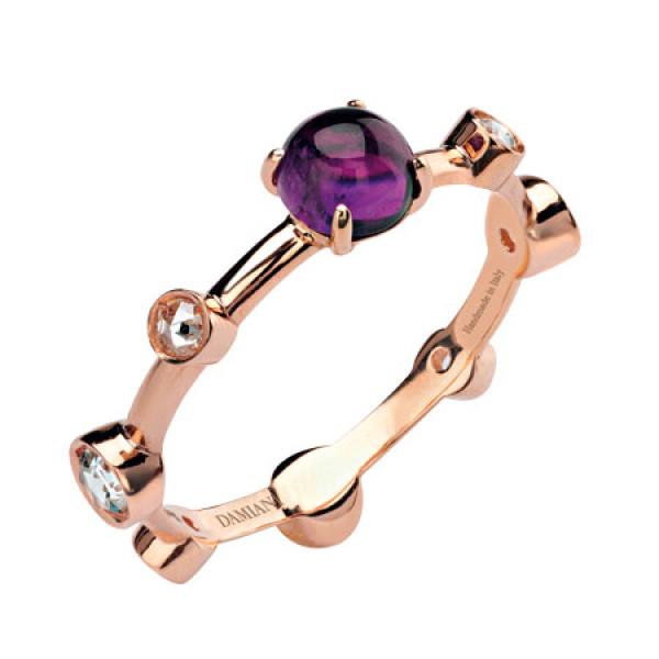 Кольцо Damiani Moon Drops розовое золото, бриллианты, аметист (20040720)