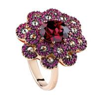 Кольцо Damiani Renaissance розовое золото, бриллианты, сапфиры, дихроит (20055224)