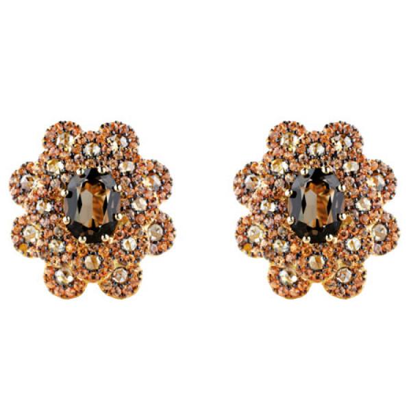 Серьги Damiani Renaissance желтое золото, бриллианты, сапфиры, кварц (20055421)
