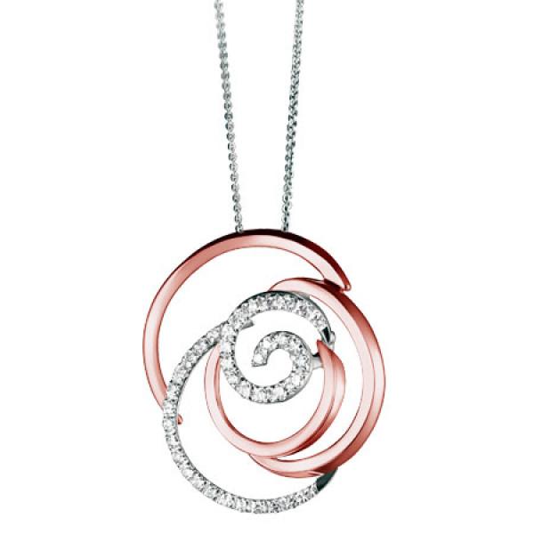 Подвеска Damiani Rose розовое, белое золото, бриллианты (20059577)