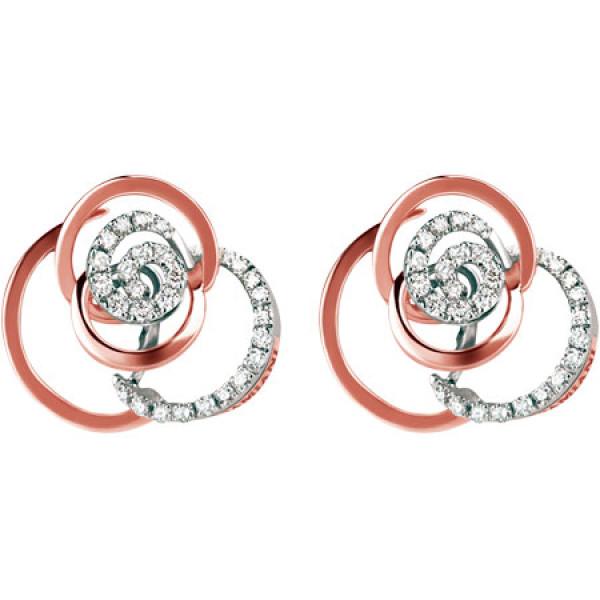 Серьги Damiani Rose розовое, белое золото, бриллианты (20059574)