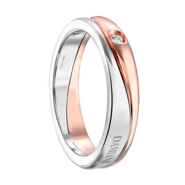 Обручальное кольцо Damiani Incontro, белое, розовое золото, бриллиант (20048741)