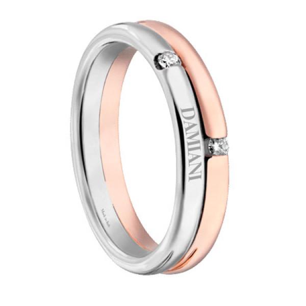 Обручальное кольцо Damiani Incontro, белое, розовое золото, бриллианты (20048743)