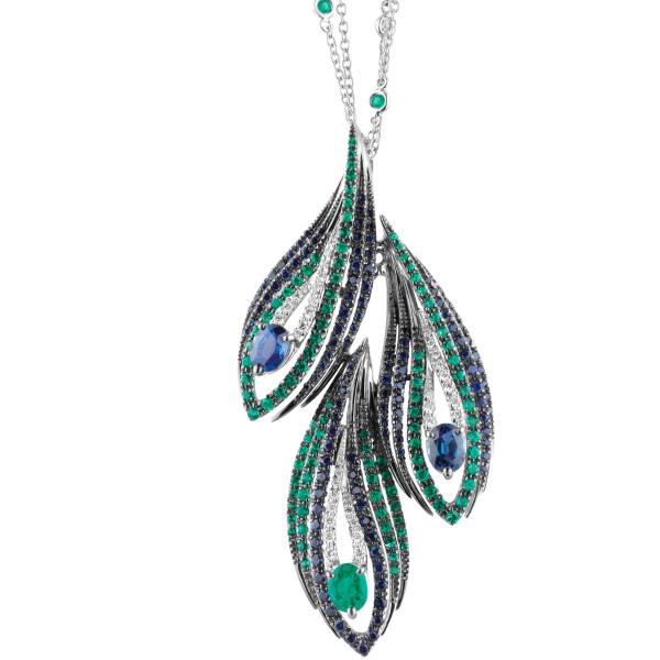 Колье Damiani Masterpieces Peacock белое золото, бриллианты, сапфиры, изумруды