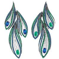 Серьги Damiani Masterpieces Peacock белое золото, бриллианты, сапфиры, изумруды